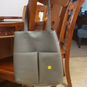 Gray leather tote/bag